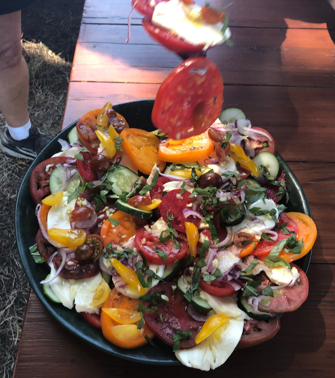 Fall Heirloom Tomatoes, Mozzarella Fresca, Red Onions, and Cucumbers, with Olive Oil & Basil